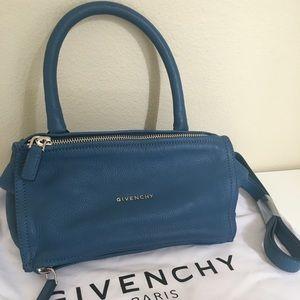 Givenchy Small Pandora Blue Leather Bag